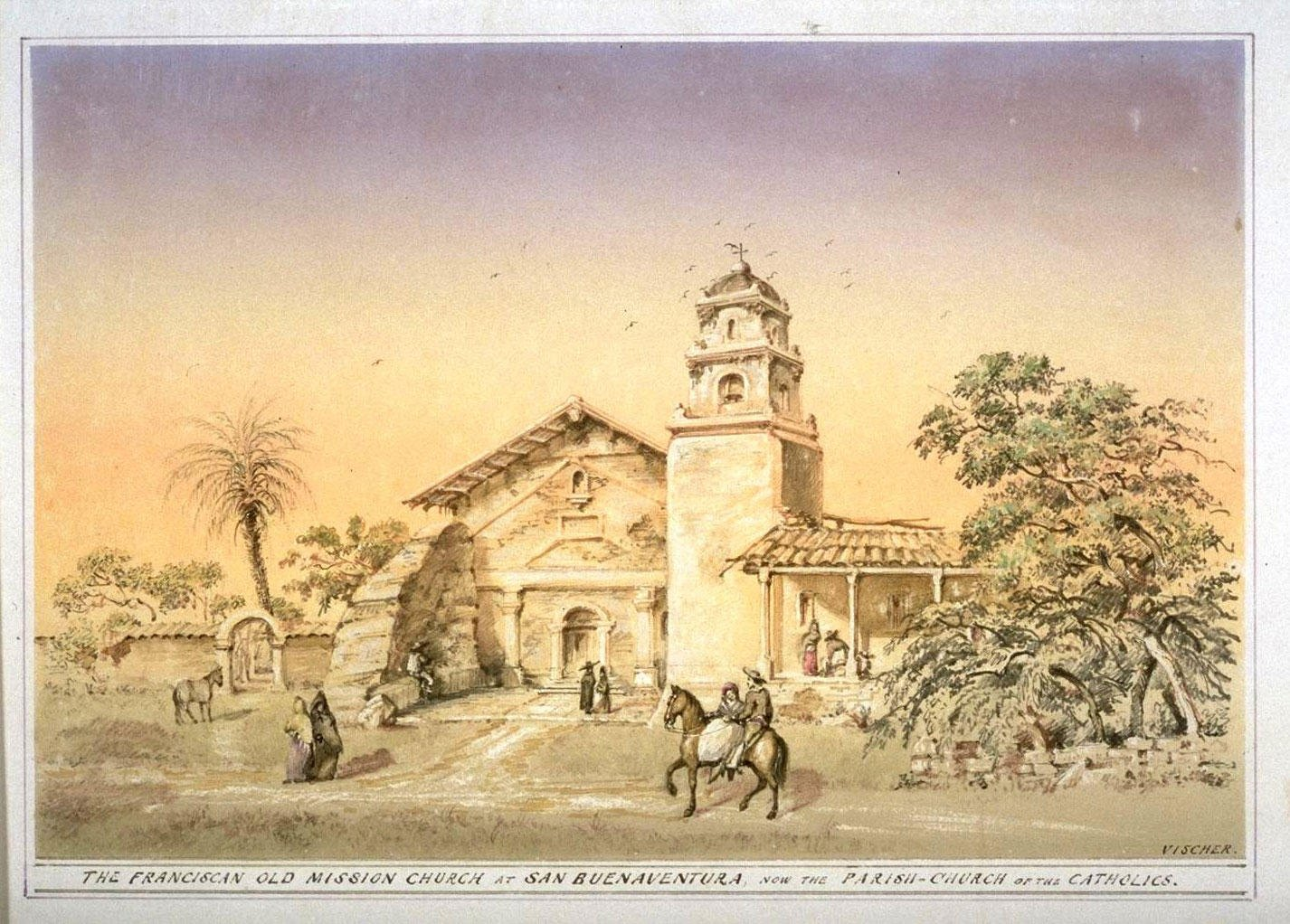 Edward Vischer's sketch of San Buenaventura, published in the 1870s. Vischer's sketches are sone of the best visual references for the era in California (UC Berkeley, Bancroft Library).