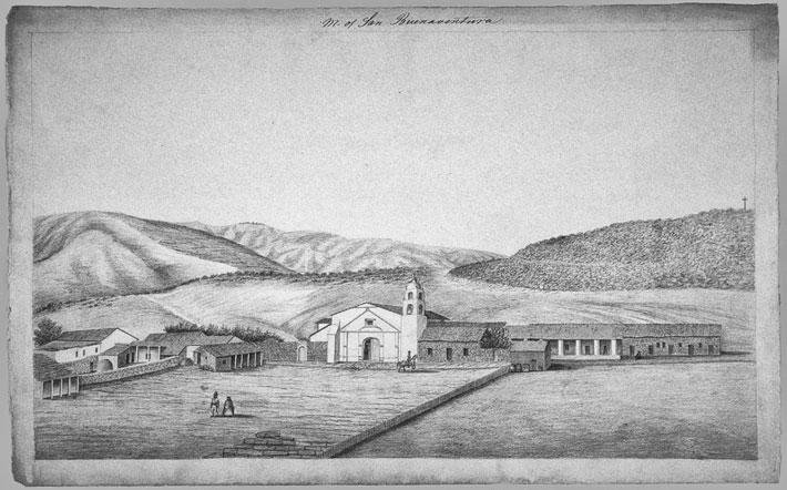 Henry Miller's works hearken from even earlier. His sketches from 1856 are the first known attempt to depict the California missions in a series (UC Berkeley, Bancroft Library).