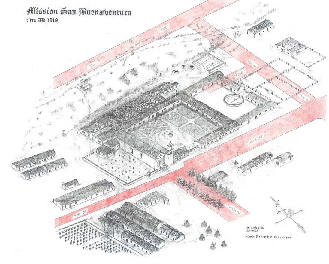 A depiction of the mission grounds at the height of San Buenaventura's prosperity in 1818, overlaid on modern Ventura streets. Courtesy of SanBuenaventuraMission.org.