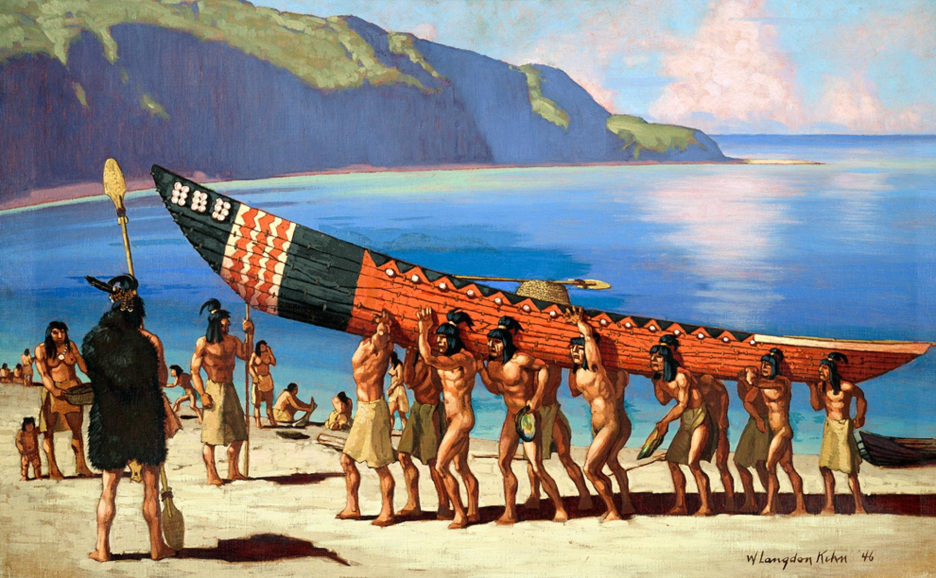 The numerous Chumash near Buenaventura were friendly to the Spaniards. Their long seagoing canoes and basket-weaving were feats of engineering, and highly prized throughout California.