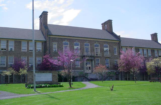 Fairmont Senior High School.  View of the front of the main school building.