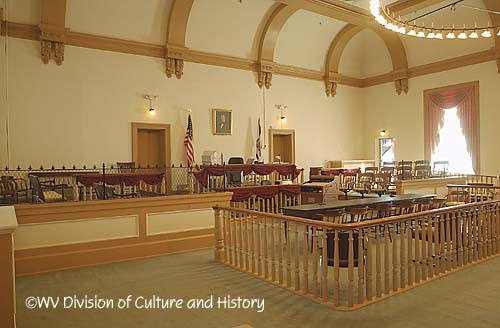 Interior of the courtroom. Image obtained from the West Virginia Division of Culture and History.