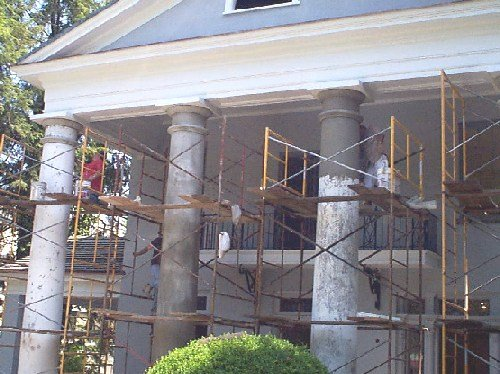 Restoration work in 2000, after the house was purchased by the West Virginia Humanities Council. Photo: WVHumanities.org.