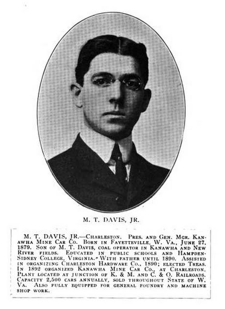 M.T. Davis, owner of the society's current home until 1922. He was president of the Kanahwa Mine Car Company, now Kanawha Manufacturing.