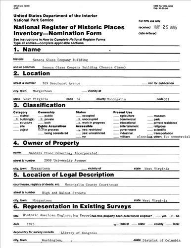 NRHP Form (Seneca Glass Company Building)