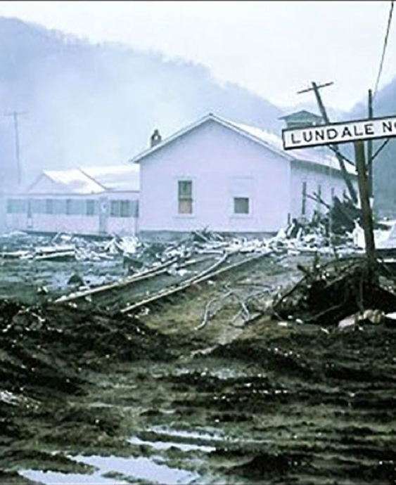 The aftermath of the Buffalo Creek Disaster.