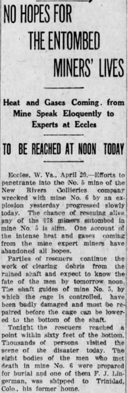 A newspaper headline from the time. Altoona Tribune of Pennsylvania April 30, 1914