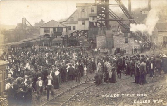 A postcard of the Eccles mine