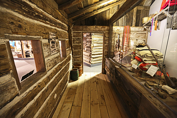Inside one of the reconstructed cabins