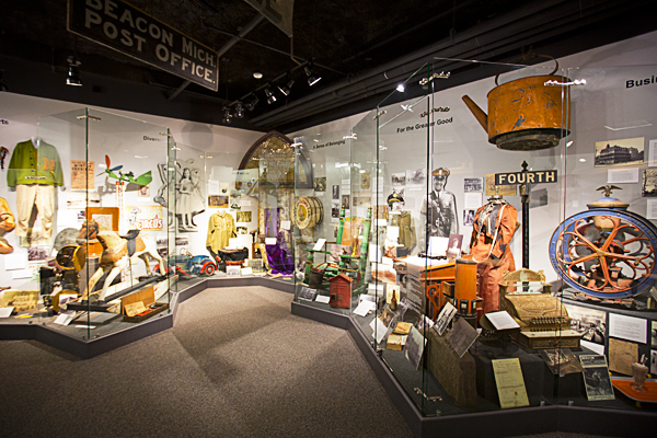 Various artifacts and items on display