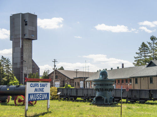 Mining equipment and the headframe built in 1955 on the left.