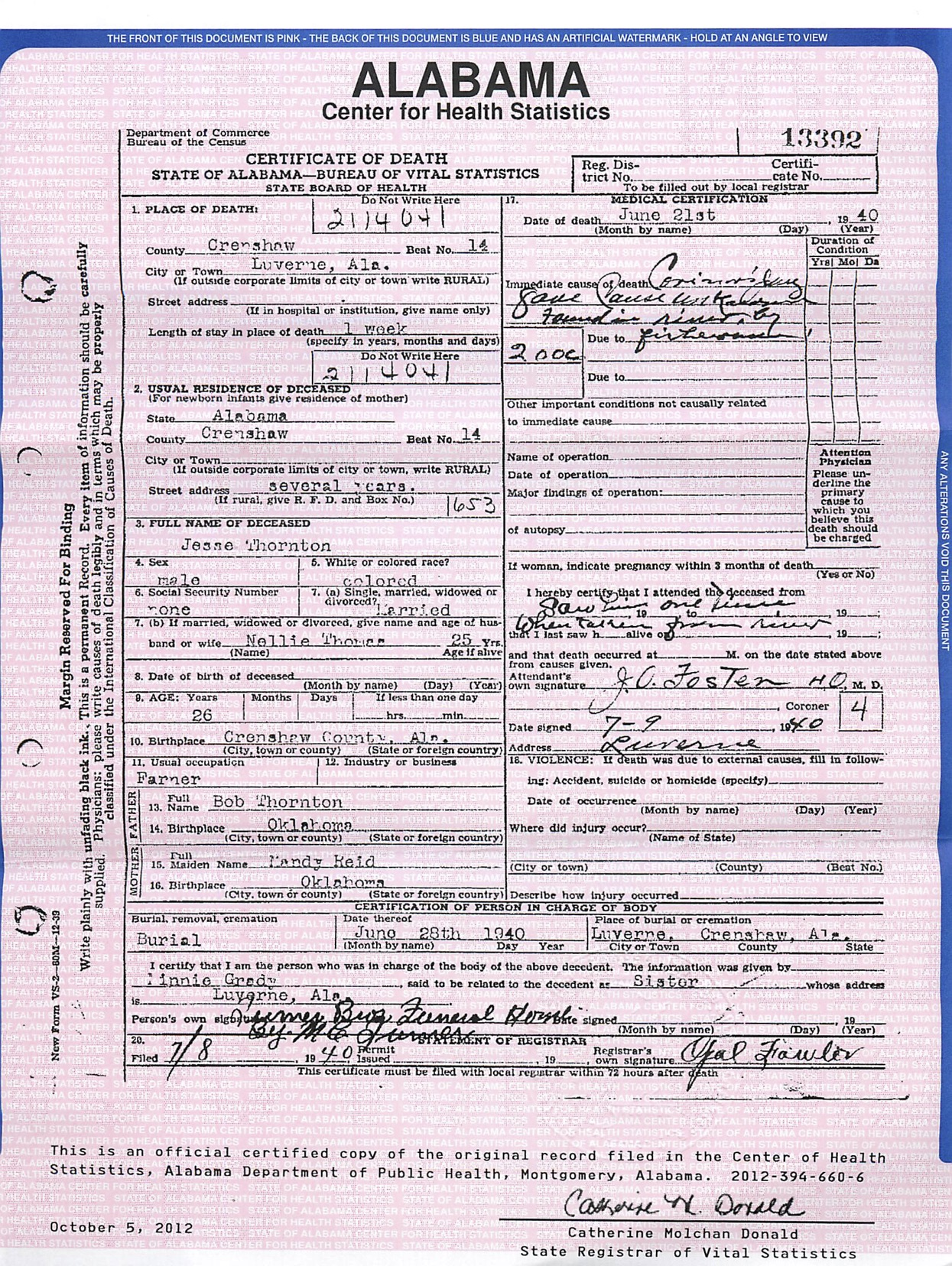This is the death certificate for Jesse Thornton.