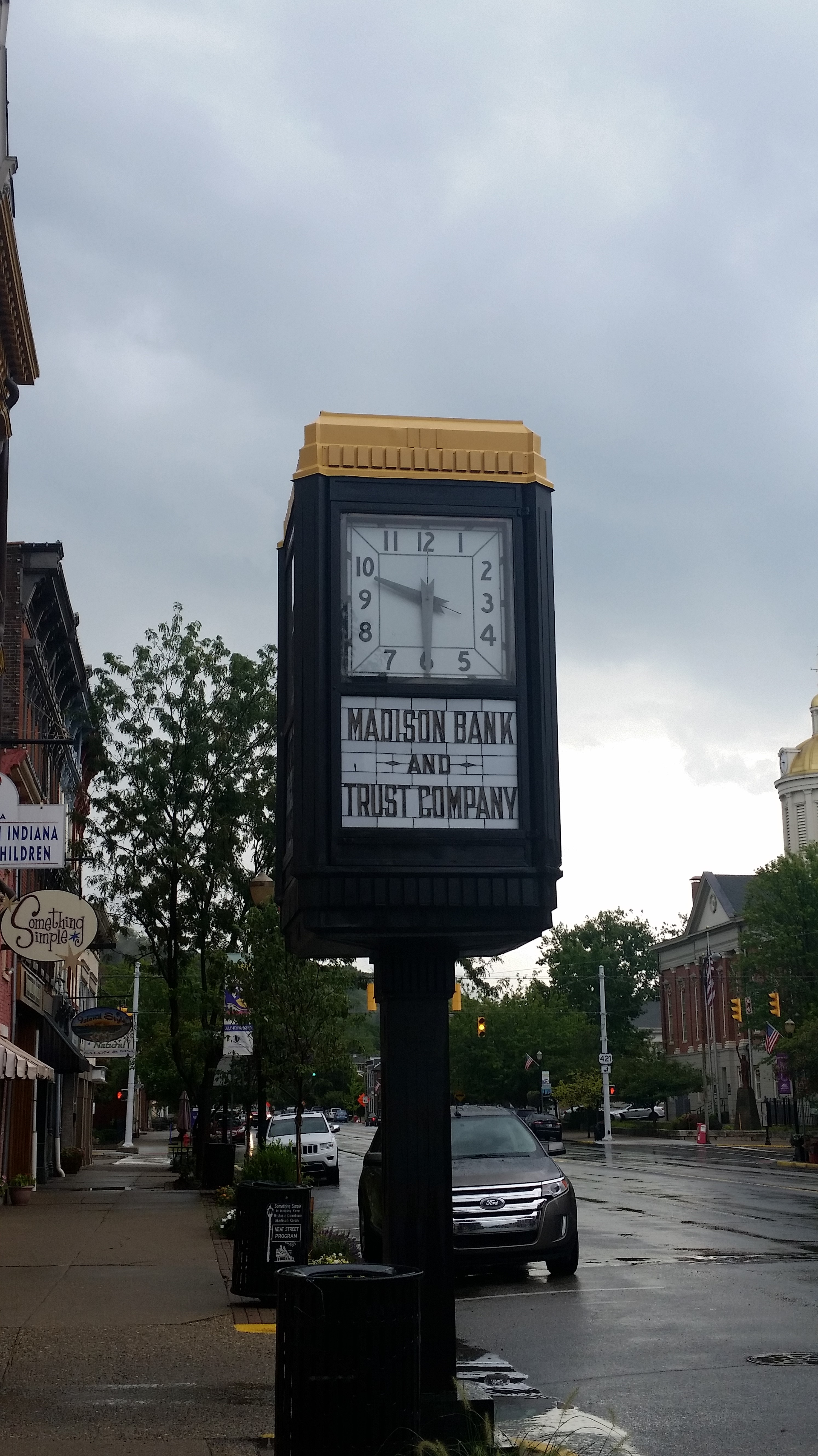 Clock located on Main Street in front of MainSource Bank.