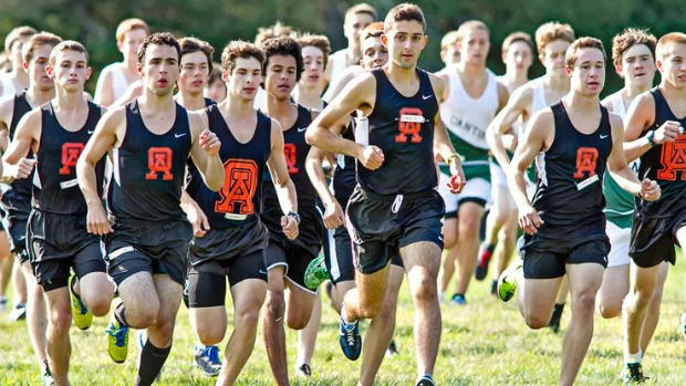 "Oliver Ames boys cross country starts the race. (""Oliver Ames Cross Country Team Runs Past Canton,"" Mile Split MA.)"