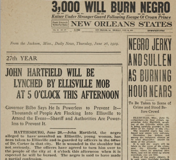 The is a copy of the news paper that was released in 1919 parading the lynching of John Hartfield.