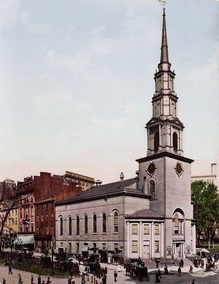 Postcard depicting Park Street Church in 1904 (image from Yale University)