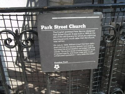 Freedom Trail Historic Marker at Park Street Church (image from Historic Markers Database)