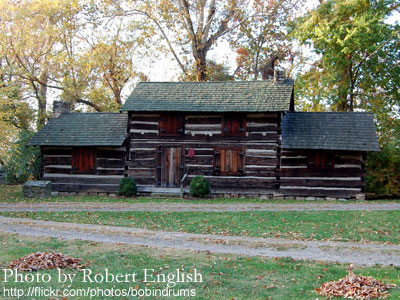"Ruffner Log Cabin in Daniel Boone Park. Photo from ""Why Charleston?"""
