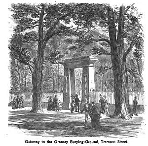 Depiction of the entrance to the Granary, 1881, with European elms which are no longer present (image from Wikimedia)