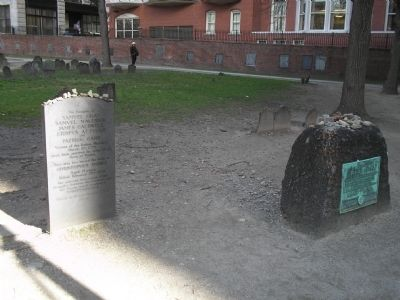 Victims of the Boston Massacre marker (left) and the grave of Samuel Adams (right) (image from Historic Markers Database)