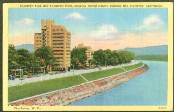 Ca. 1940 postcard featuring the newly-constructed United Carbon Building along Kanawha Blvd..