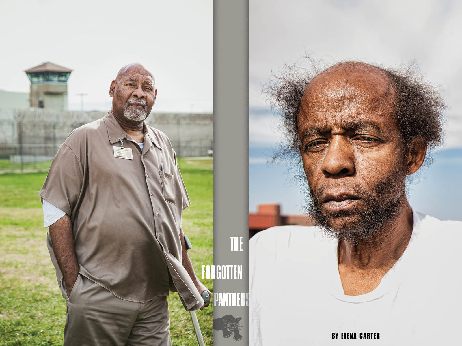 Ed Poindexter (left) and Mondo we Langa (right) at the Nebraska State Penitentiary in Lincoln NE, February 2016. We Langa passed away at the prison on March 11, 2016. (Photo by Ron Levine)