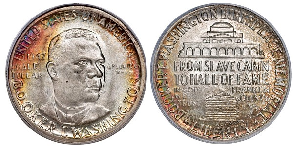 Booker T Washington commemorative half dollar issued in 1946.