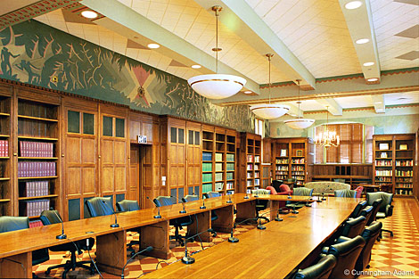The North Reading Room at Cravath Hall with restored Aaron Douglas murals (image from the Smithsonian American Art Museum)