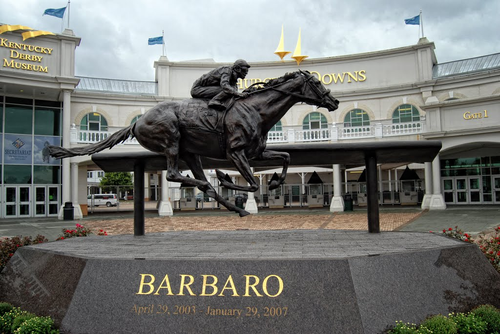 Statue dedicated to Barbaro outside the Kentucky Derby Museum (image from Panaramio)