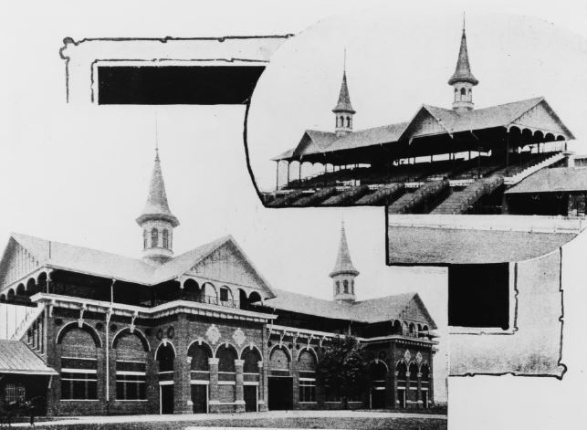 The 1895 Grandstand with twin spires (image from the Courier-Journal)