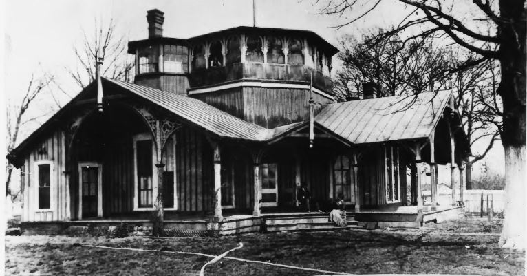 The original 1875 Louisville Jockey Clubhouse (image from the Courier-Journal)
