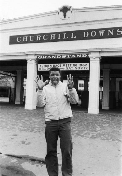 Louisville's champion boxer, Muhammad Ali, at Churchill Downs in 1962 (image from Pinterest)