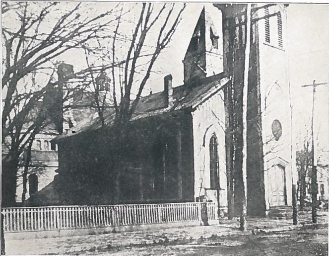The first church built in Charleston at the corner of Quarrier and Broad Streets.