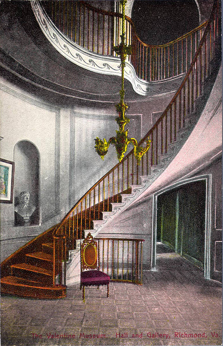 1910 postcard of the Valentine's grand staircase. Courtesy of Virginia Commonwealth University's (VCU) Digital Library.