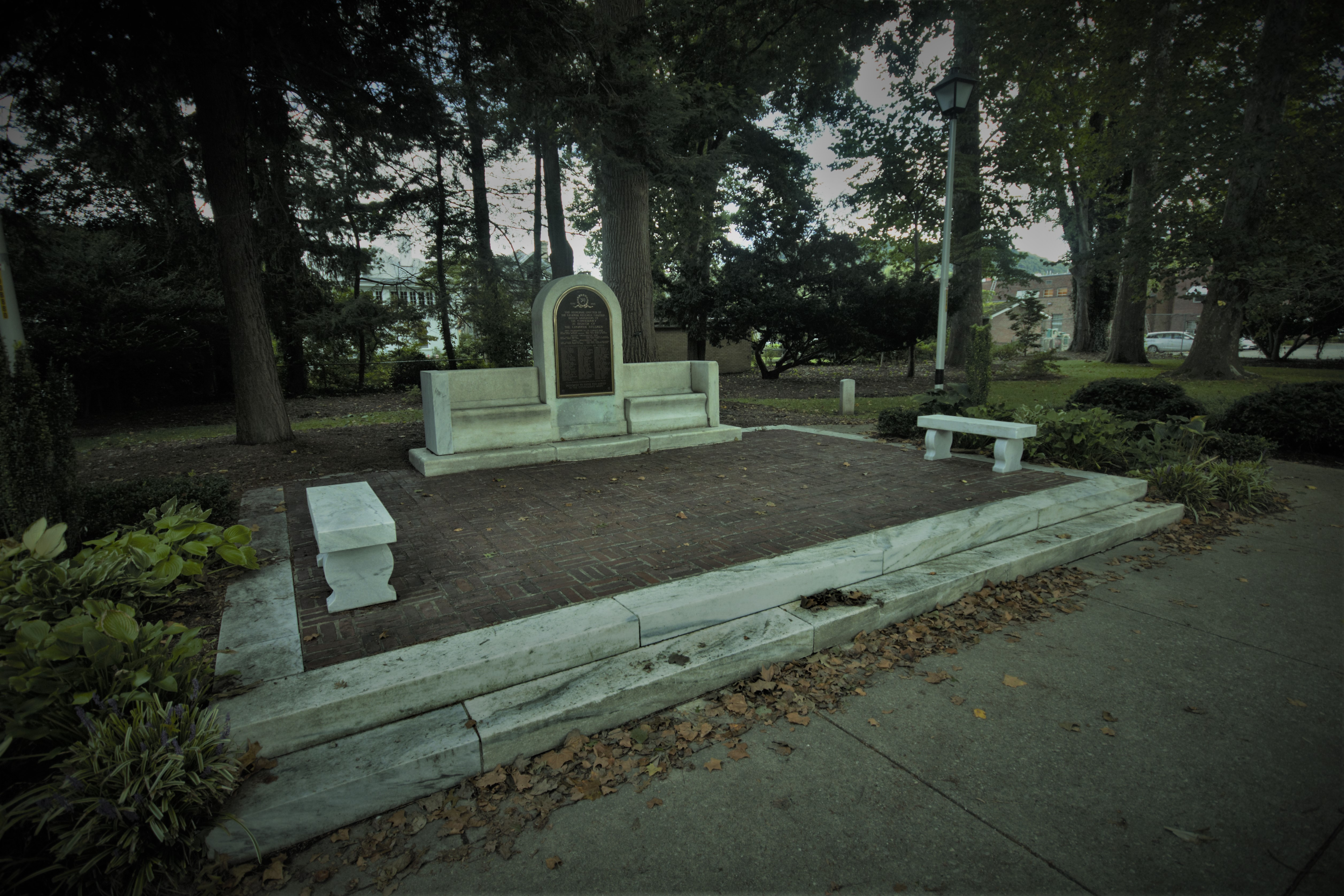 A wider view of the memorial, which resides at the center of the park.