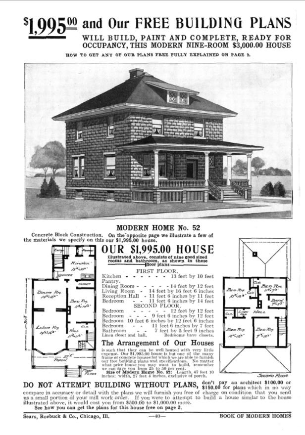 A Sears Roebuck mail-order house in the American foursquare style.
