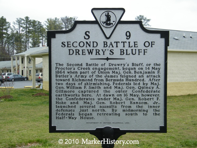 Historical marker that recounts the 1864 battle at Drewry's Bluff.