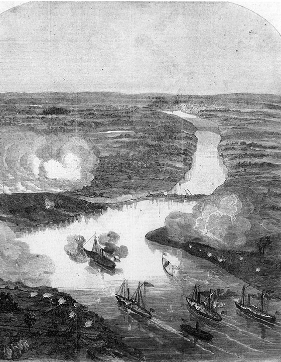 A post-battle rendition of the Union naval attack on Drewry's Bluff