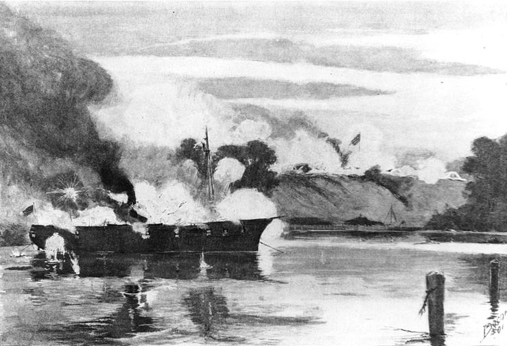 Another post-battle rendition. This of the Galena under heavy fire