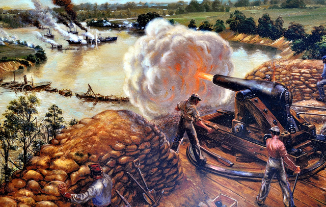 This painting depicts a Confederate Battery firing on the Union ships in the 1862 battle