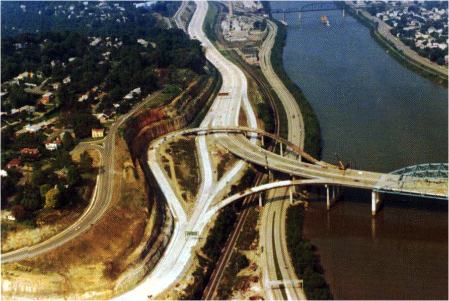 I-64 Bridge at U.S. Route 119 (Corridor G) Fort Hill interchange (Exit 58A) under construction in 1973. Image taken by Ray Lewis of the West Virginia Department of Transportation.