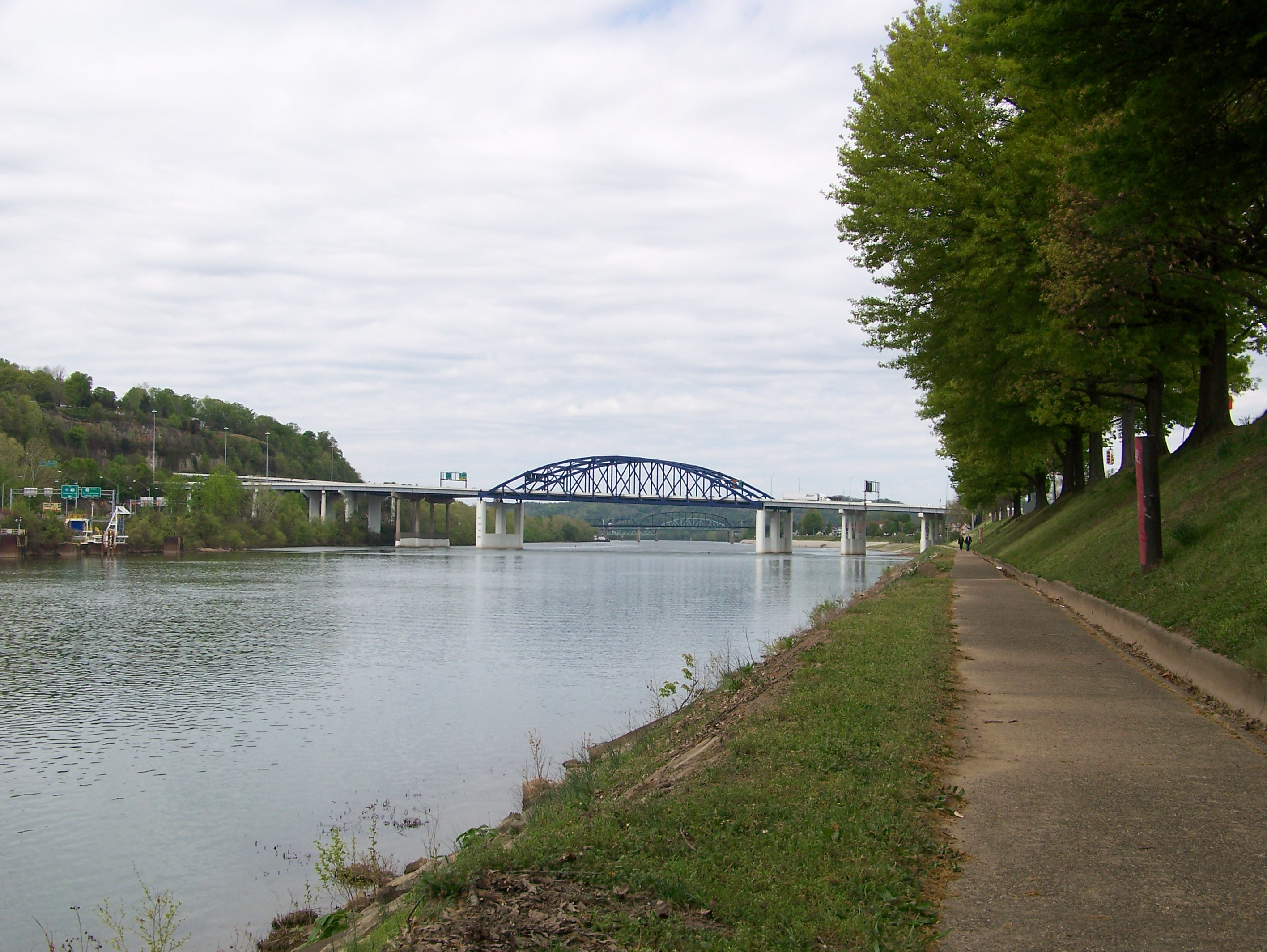 View of I-64 Bridge looking west from Kanawha Boulevard river trail in  Charleston, WV.  2013 photo by Michael A. Miller