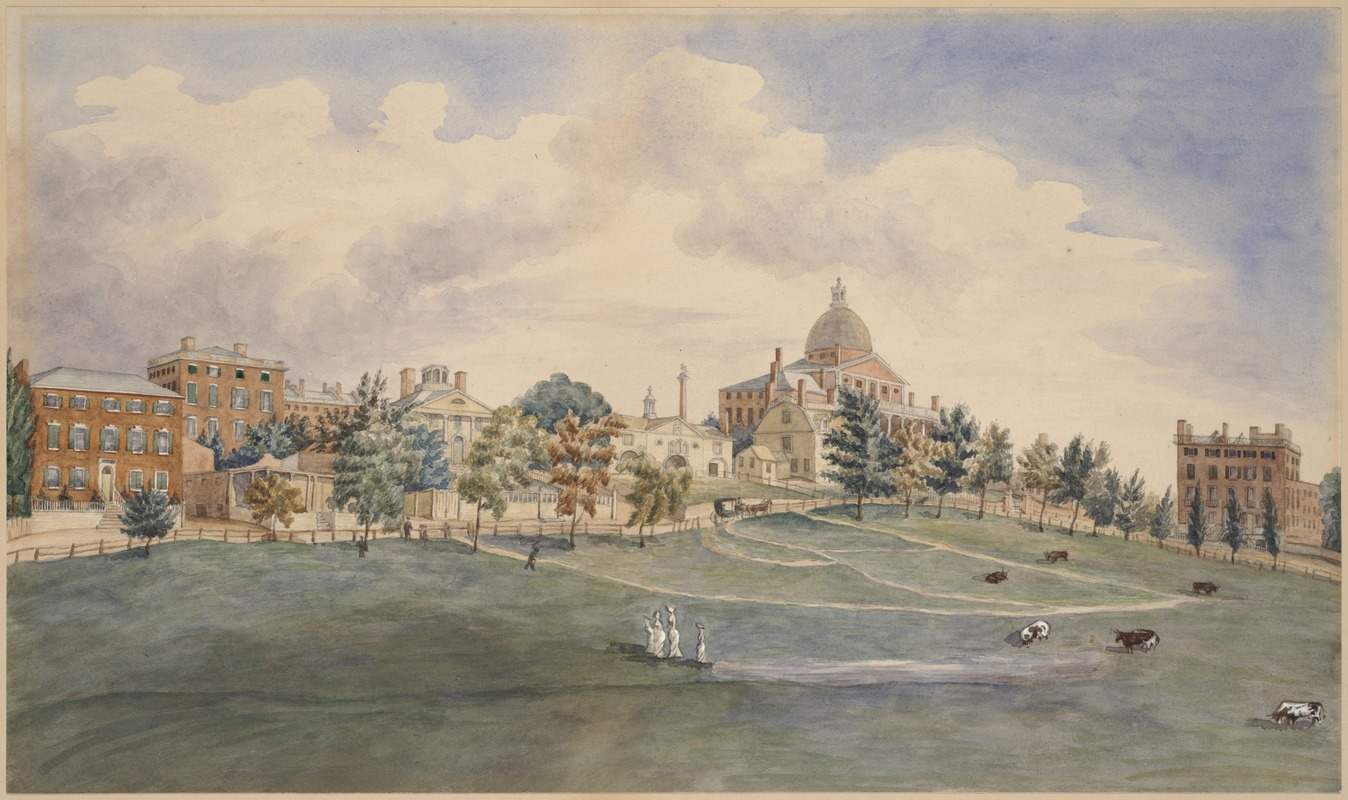 Beacon Street and the Common, 1808 watercolor by John Rubens Smith (image from the Boston Public Library)