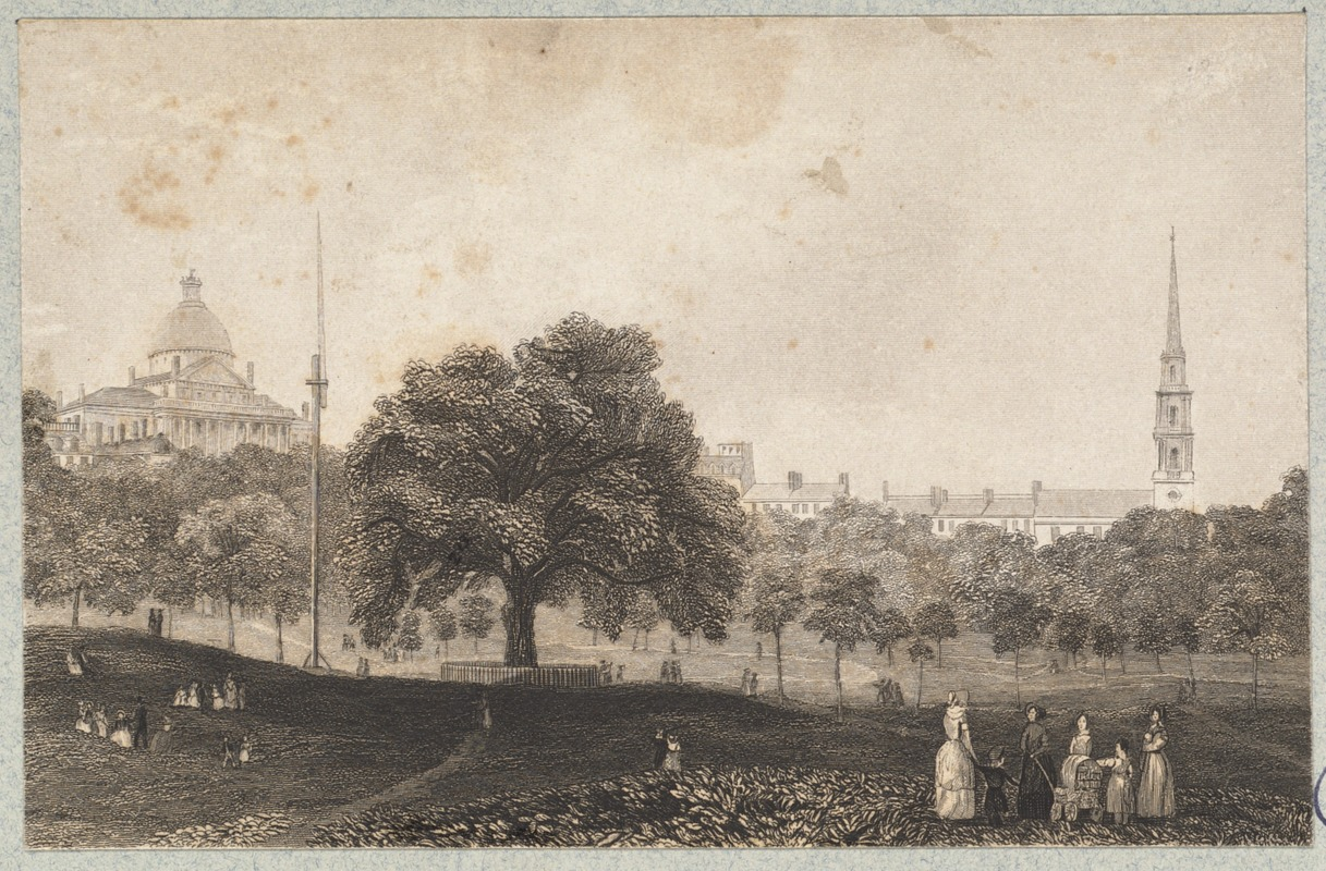 1848 engraving of Boston Common and the State House (image from the Boston Public Library)