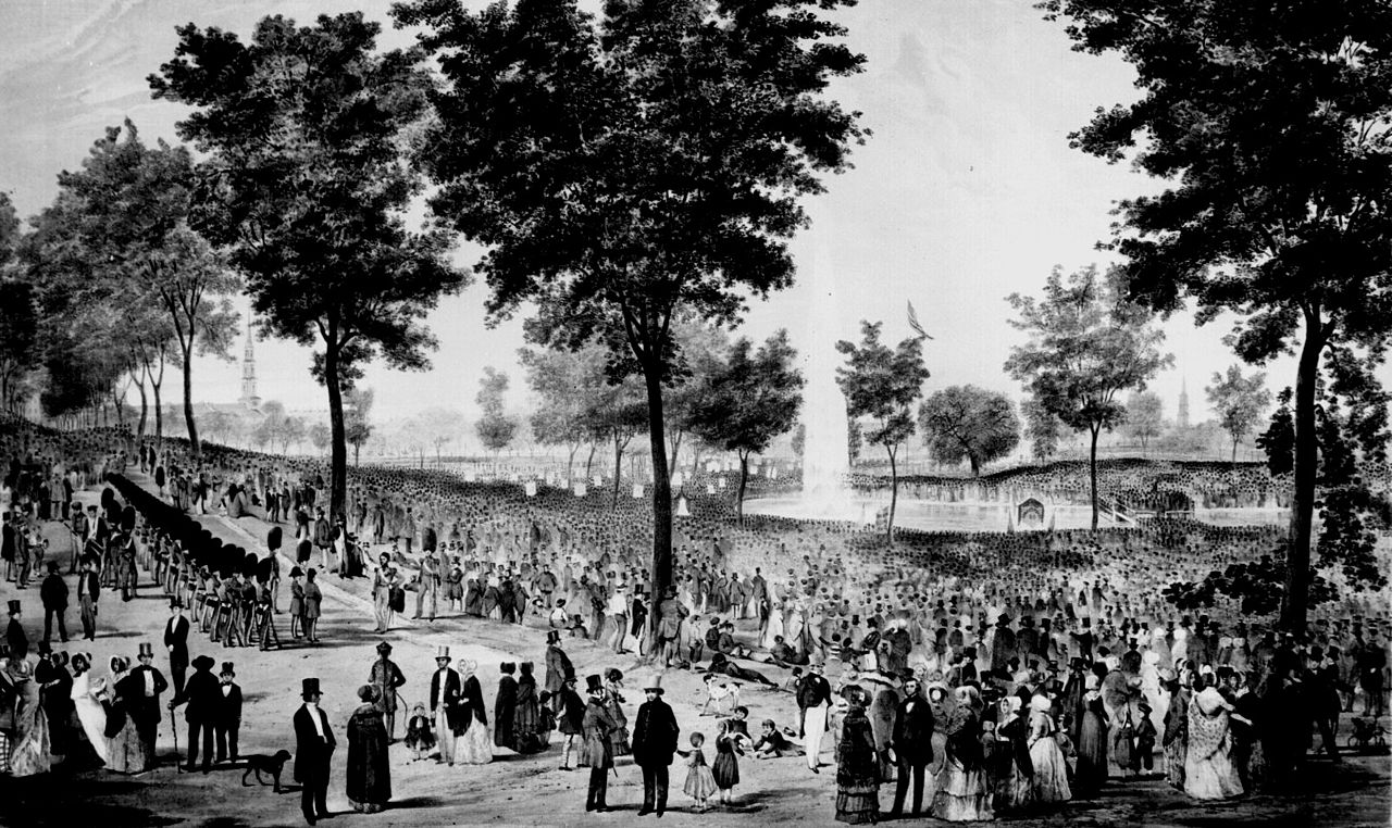 Boston Common in 1848 (image from Wikimedia)