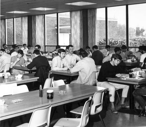 """Students seated at tables in Green Mountain Dining Room"", 1970s"