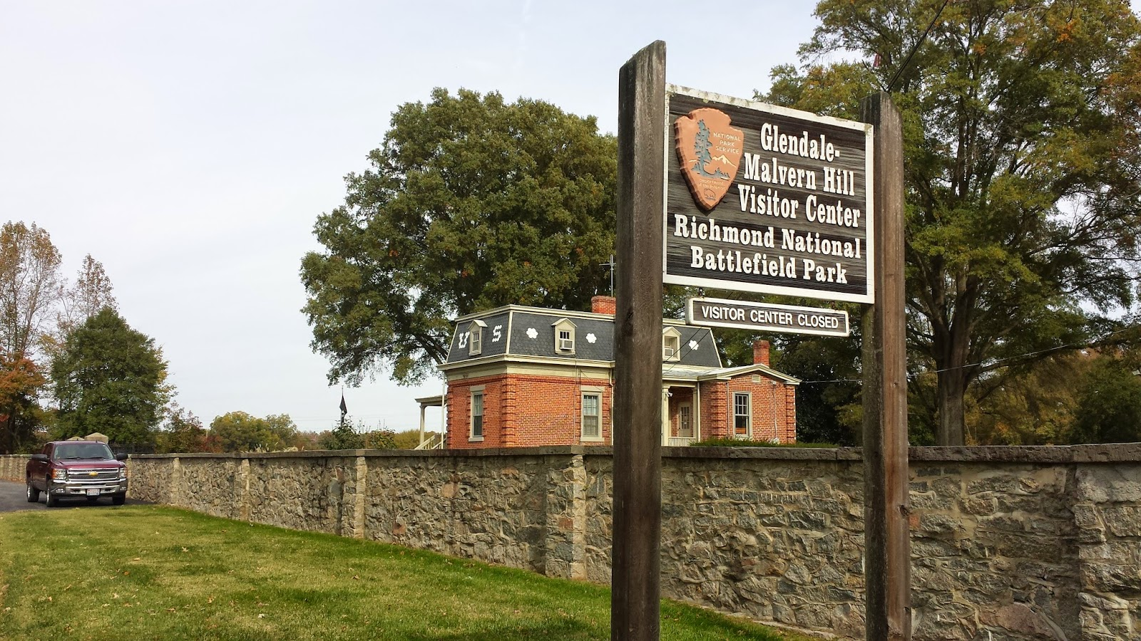 The Glendale/Malvern Hill Battlefields Visitor Center. The Center is in the background