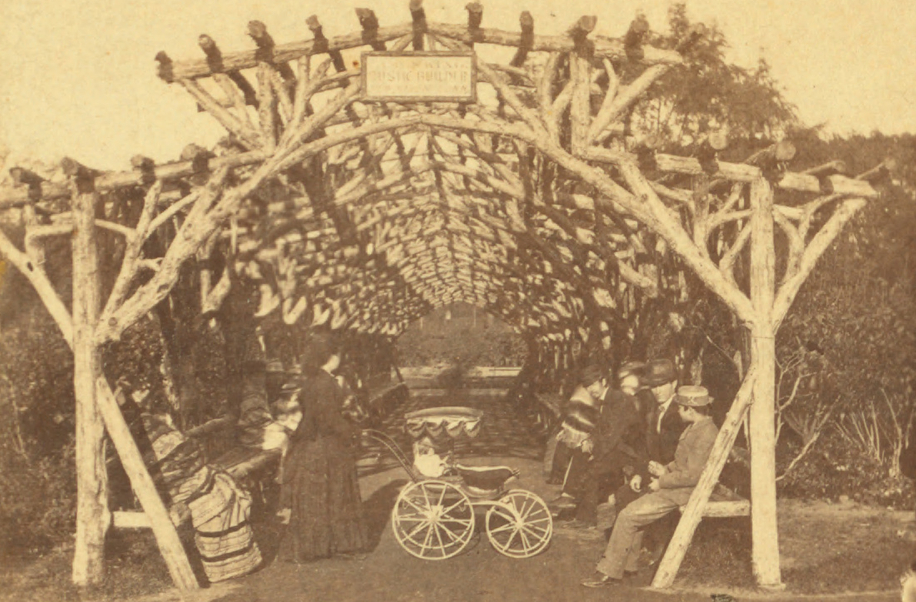 19th century arbor in the garden (image from Wikimedia)