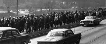 Miners and their family members marching towards the West Virginia state Capital, 1969
