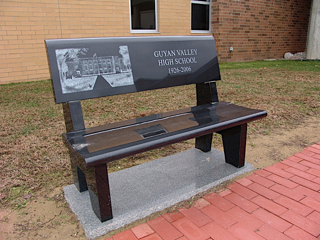 Image Source: https://picasaweb.google.com/102430107533581951674/LCHSBenches#5568753531968274450 A marble bench for one of the four high schools Lincoln County consolidated from, this one being for Guyan Valley High School.